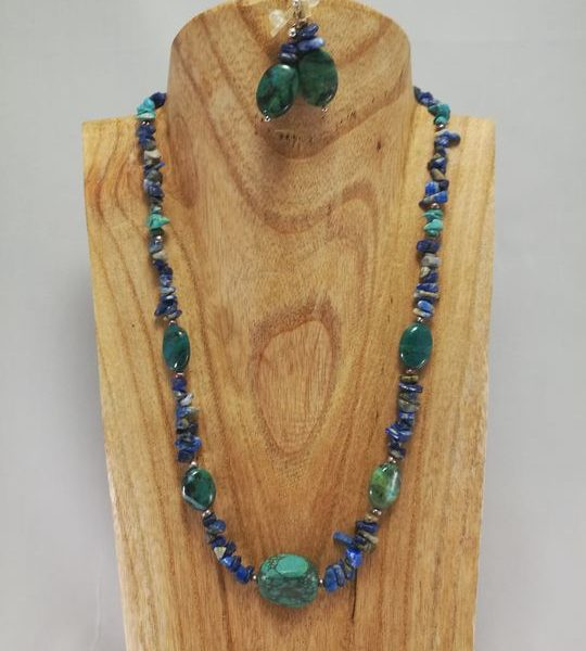 Collier Turquoise, Lapis- Lazuli et Chrysocolle