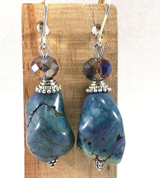 Boucles d'oreilles bleues en Howlite et Cristal de Bohême