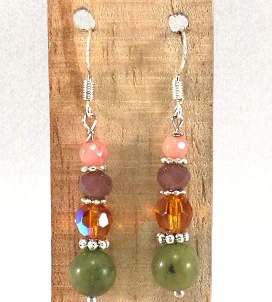 Boucles d'oreilles vert-roses en Jade et Cristal de Bohême