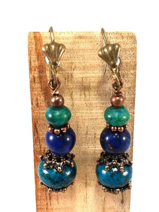 Boucles d'oreilles bleues et turquoises en Chrysocolle et Lapis- Lazuli-bom66