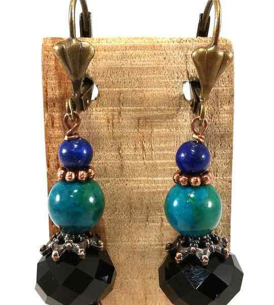 Boucles d'oreilles turquoises et bleues en Chrysocolle et Lapis-Lazuli-bom71