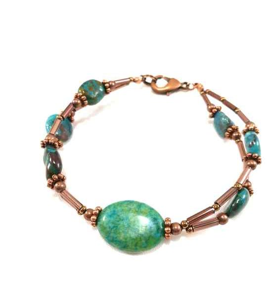 Bracelet turquoise baroque en Chrysocolle-brt12