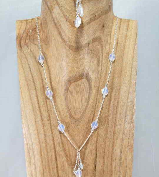Collier blanc en Argent et Opalite
