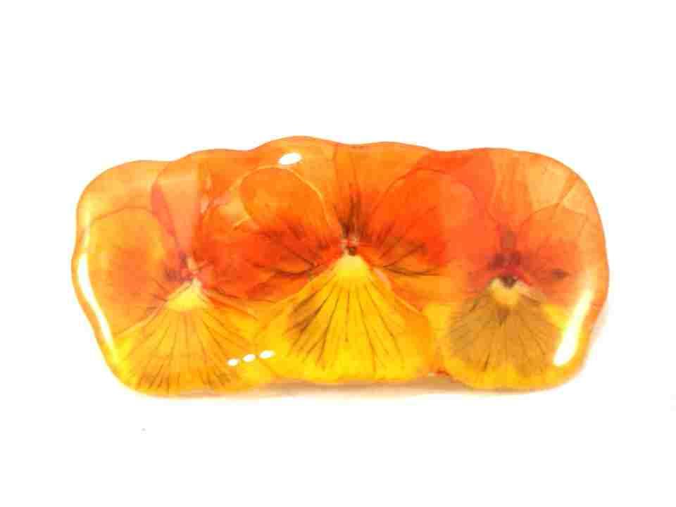 petite-barrette-pensees-orange-jaune